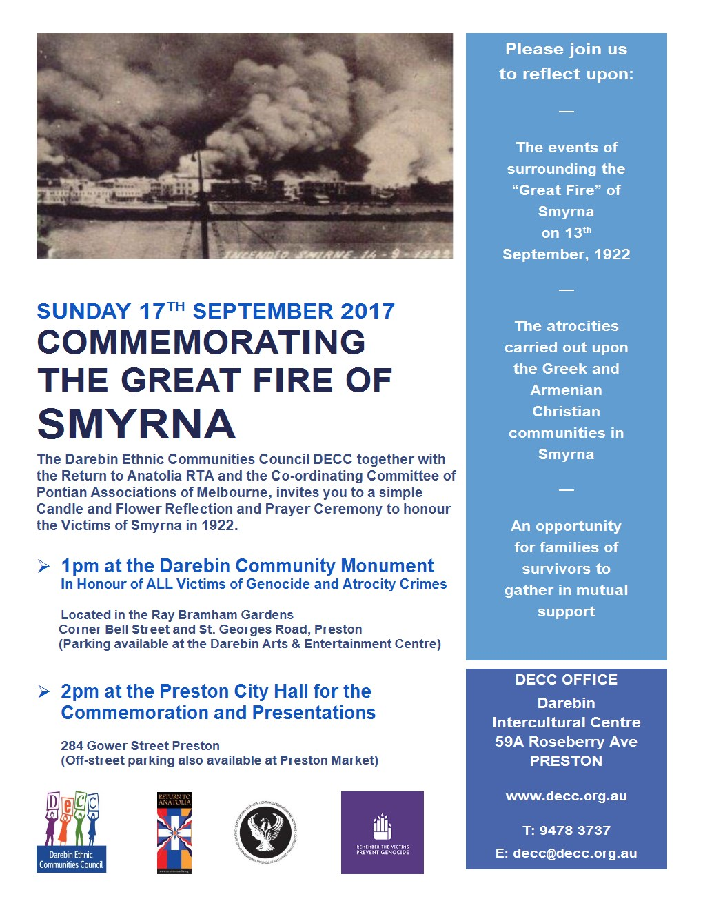 SMYRNA  EVENT SUNDAY 17TH SEPTEMBER 2017