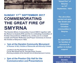 COMMEMORATING  THE GREAT FIRE OF SMYRNA